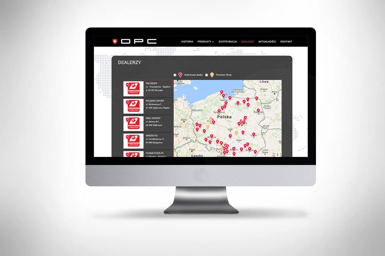 Strona www z mapą sklepów