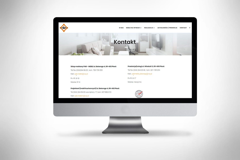 Strona internetowa dla firmy robiącej meble